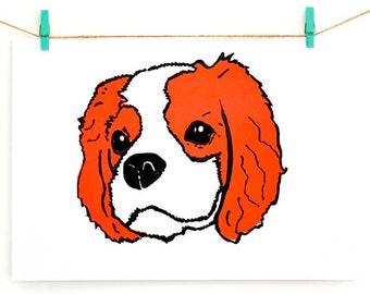Blenheim King Charles Cavalier Spaniel Screen Print, bright coral orange & black cav dog art, Pop Art, gift for dog lovers, cavalier gift