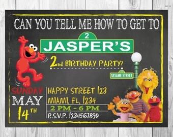 SALE - 50% OFF Sesame Street Invitation - Chalkboard style - Elmo Invitation - Sesame Street Birthday Invitation - Elmo Birthday Invitation