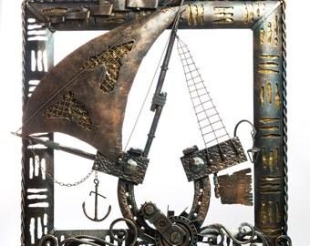 Handmade metal art work 'The Ship'. Forging. Picture. Steampunk