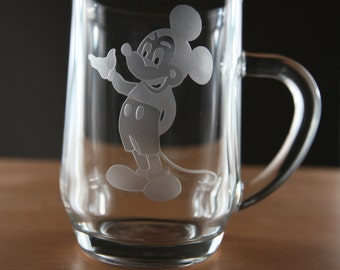 1 set of Vintage Glass Disney Mugs with etched Mickey Mouse, Minnie Mouse and Donald Duck- Mid 1980's