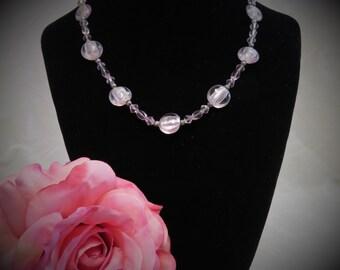 SALE !!! Czech Glass and Swarovski Crystal Beaded Necklace  -  Light Pink