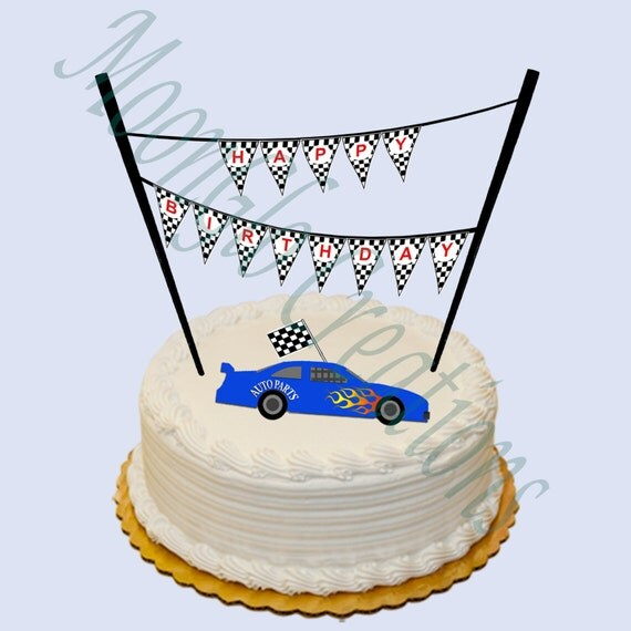 race car theme  u0026 39 happy birthday u0026 39  cake banner   birthday