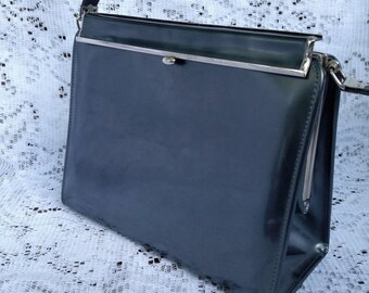 Vintage 1950's - 1960's Designer Dark Smoke Grey With Silver Tone Frame Handbag Purse