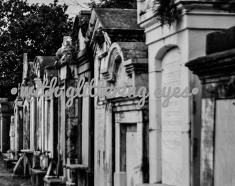 Black and White New Orleans Cemetery Photo