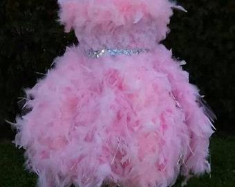 Girls dress, toddler dress, birthday dress, feather dress for girls, tutu dress, flower girl dress, pageant dress, pageant wear