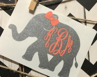 Elephant Stickers Etsy - Elephant monogram car decal