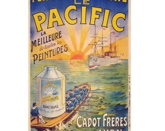 Peinture Emaille le Pacific Vintage Poster French Canvas Art Print Gallery Wrapped