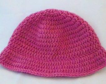 Crocheted in large dark pink cloche Hat wool