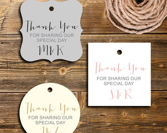 Thank You Favor Tags,  Personalized Gift Tag, Wedding Favor Tag, Set of 12, PC0205