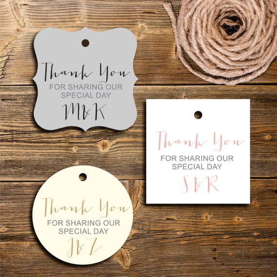 Thank You Wedding Gift Tags : Thank You Favor Tags, Personalized Gift Tag, Wedding Favor Tag, Set of ...