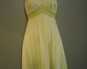 1970-80's Shadow Line, Lime-Green Slip Dress