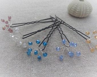 Hair accessory wedding Pic pin mini bun Crystal bouquet