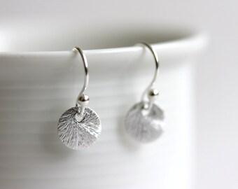 Tiny Disc Earrings, Brushed 925 Sterling Silver, Dot Earrings