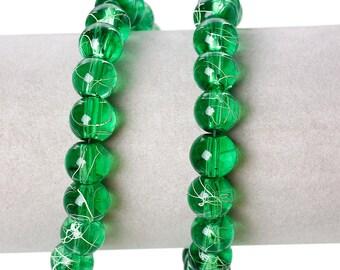 1 Strand 10mm Glass Drawbench Beads-Green (B40a/180)