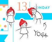 Yoga stickers, planner stickers, planner stickers, workout stickers, yoga poses, pilates, gym stickers, 32 stickers, MINI size, PPC174