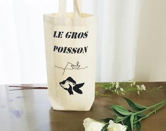 Hand painted wine bag - The Big Fish - wine tote - handmade wine bag - wine gift bag - bottle bag - cotton wine bag - Christmas gift idea