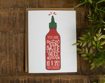 Valentine's Day card, Love Greeting Card, Anniversary Card, Card for Boyfriend, Card for Girlfriend, I Love You Card, Awesome Sauce Card