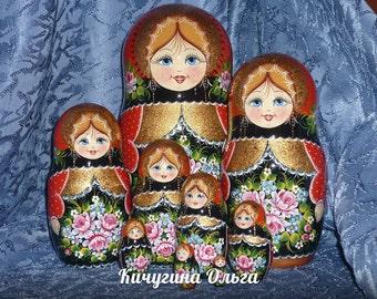 Set of 10 (25cm-9,8in) Wooden Russian Nesting Dolls - Matryoshka  Wooden Dolls