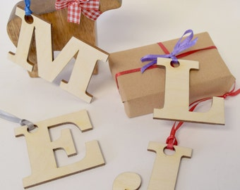 Initial Letter Gift Tags - Wooden Gift Tags - Christmas Gift Tags - Gifts for Her - Gift Wrap - Gift Tags - Christmas Gift Wrap