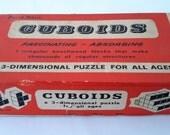Wooden puzzle, vintage game, Cuboids 1960s 3 dimensional puzzle, Childrens toy, boxed puzzle, Christmas present