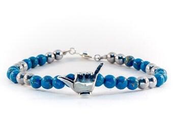 Men's bracelet,Blue Beaded Bracelet,Hang Loose Bracelet,Blue Turquoise Bracelet,Surfer Bracelet,Turquoise Hematite Silver,Shaka