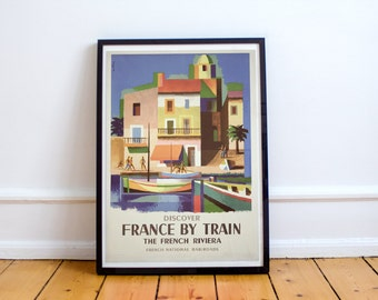 South of France by Train Vintage Travel Poster High Quality Print