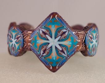 Polymer Clay Kaleidoscope Cane Cuff Bracelet