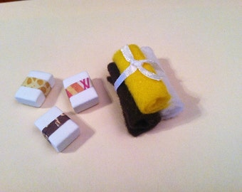 Dollhouse Miniature Towels~Dollhouse Miniature Bathroom~Miniature Soap~Handmade Miniatures~Rare Miniature~Mini Towel~Mini Soap~Mini Bathroom