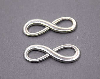 2 Silver Plated Infinity Charms | Infinity Pendant, Infinity Connector, Silver Infinity Charms, Silver Infinity Pendant