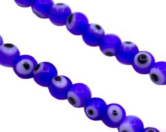 50 pcs 4mm Blue Evil Eye Beads | Small Evil Eye Beads, 4mm Evil Eye Beads, 4mm Glass Beads, Blue Evil Eye Glass Beads