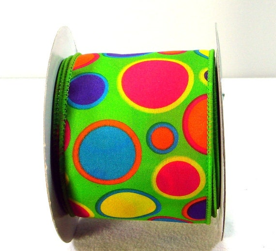 2.5 inchWired Ribbon ~ Lime Ribbon with Bright Multi ...
