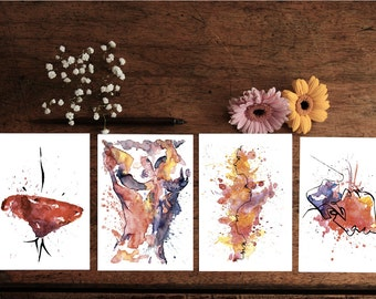 Pack of 8 postcards - print from Watercolour
