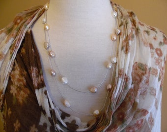"""36"""" Natural Pink and White Fresh Water Pearl Silver Thread, Wedding, Bridal, Necklace with Sterling Silver Clasp."""