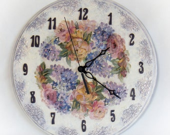 Wall clock, Handmade decoupage,
