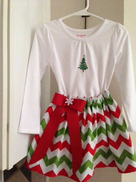 Holiday Outfit, Christmas Skirt Outfit, Christmas Tree Skirt Outfit, Baby Christmas Outfit, Girl Christmas Outfit, Toddler Christmas Outfit