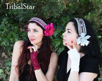 Fucsia-rosa flowers headband