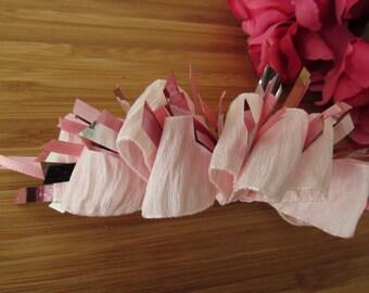 pink hair bow, childrens hair bows, hair accessories, French clip barrette, pink hair clip, vintage hair bow, loopy hair bow