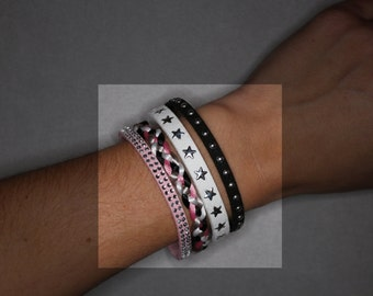 Cuff, pink, white and black bracelet