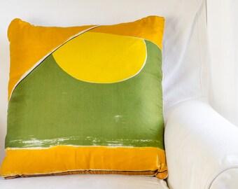 Vintage Vera Silk Scarf Throw Pillow - Green/Gold/Yellow Abstract Print