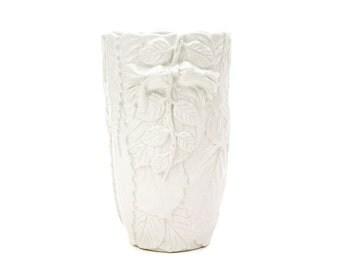 White Italian Majolica Pottery Vase, Three Tree Vase