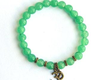 Green Aventurine Om Bracelet