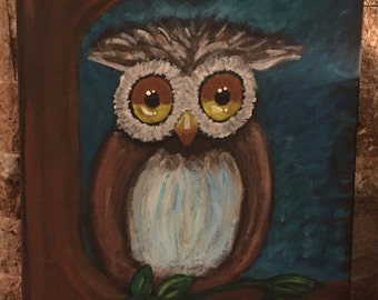Owl - Hand Painted on Canvas