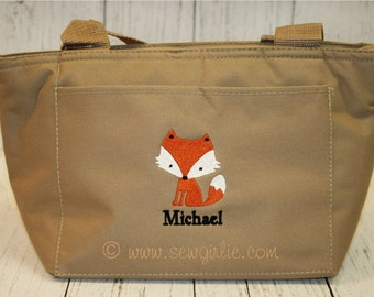 Monogrammed Fox Lunch Tote