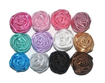 Satin Rolled Flowers, You Choose Quantity & Colours, Wholesale Fabric Flowers, Headband Supplies, DIY Flowers, Flower Embellishment, #6