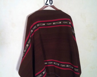 """Poncho from Bolivia. Mid 20th century.  Mint condition.  wool.  55""""x54""""w."""