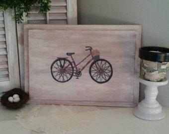 Painted Vintage Bicycle With Flower Basket/ Cabinet Door