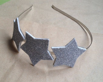 Silver Star Headpiece, Glitter Silver Star Crown, Star Headband, Party Star Hair Accessory, Star Costume