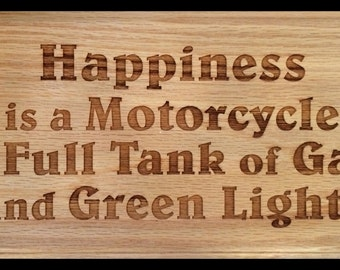 Happiness is a Motorcycle Plaque