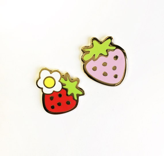 Strawberry Enamel Pin Set- Cute Pink and Red Strawberries Hard Enamel Lapel Set of Two Pins