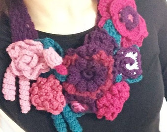 Necklace Knitted Accessory Winter Crochet Flower